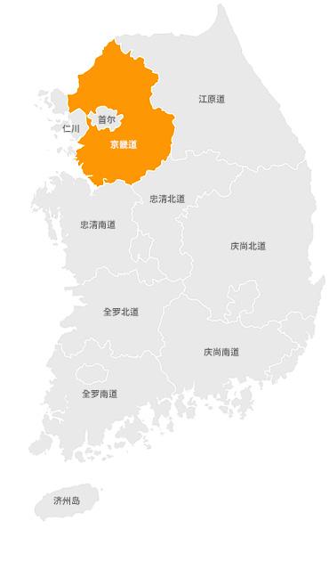 position of Gyeonggi-do in korea map